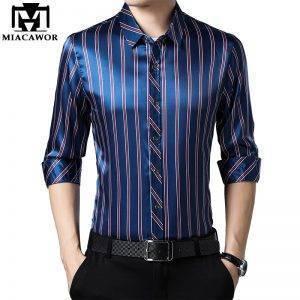 Casual Shirts Men Striped Shirt