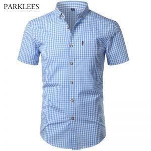 Short Sleeve Cotton Men Dress Shirts