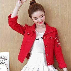 Women Embroidery Jeans Jacket