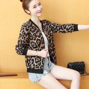 Women Leopard Basic Jacket