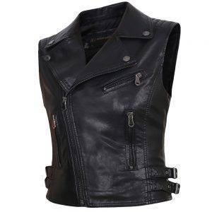 Faux Leather Sleeveless Jackets