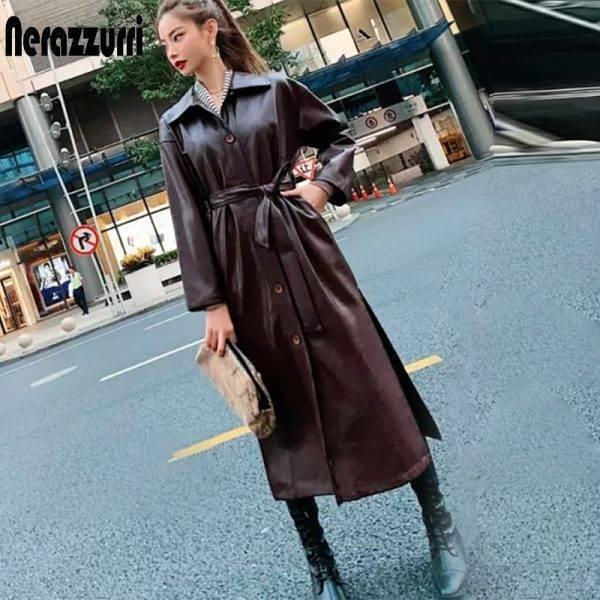 Autumn Leather Trench Coat