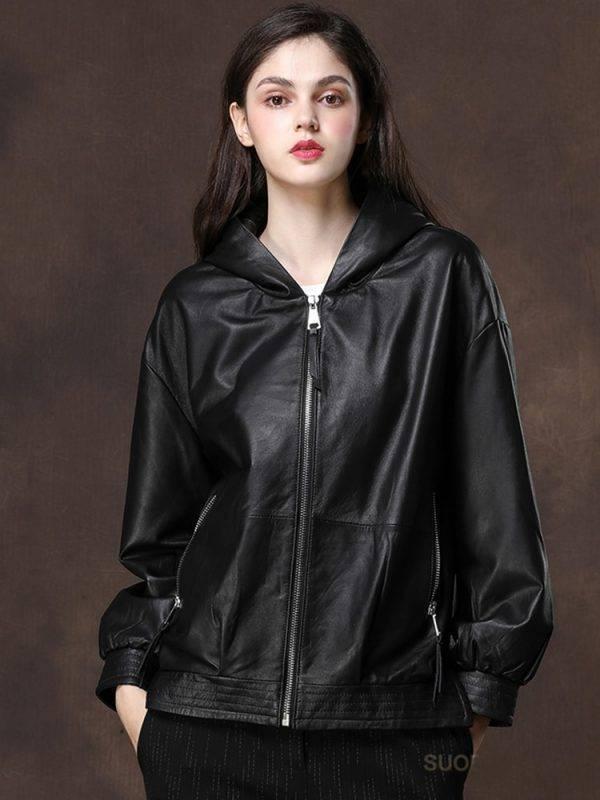 Black Oversized Leather Jacket